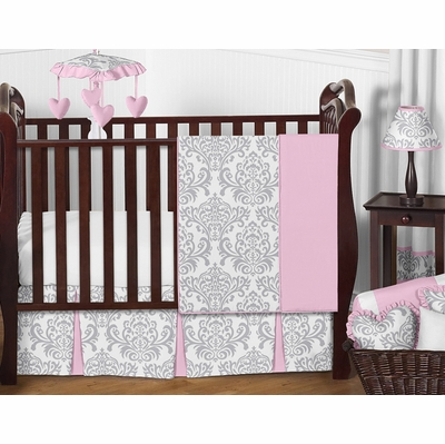 Elizabeth Pink and Gray 11 Piece Bumperless Crib Bedding Collection
