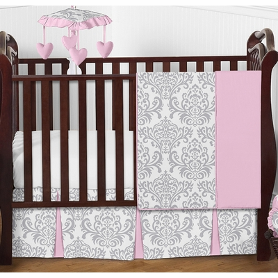Elizabeth Pink and Gray 4 Piece Bumperless Crib Bedding Collection