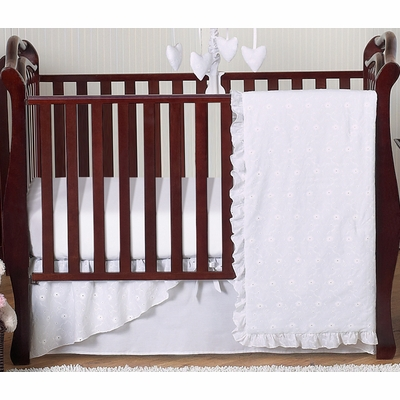 Eyelet White 4 Piece Bumperless Crib Bedding Collection