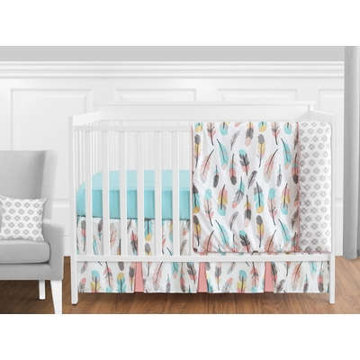 Feather Turquoise and Coral 11 Piece Bumperless Crib Bedding Collection