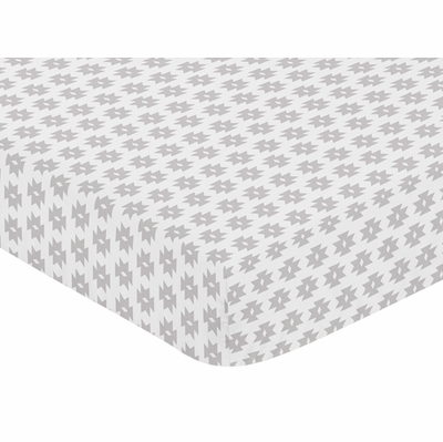 Feather Turquoise and Coral Collection Crib Sheet - Grey Tribal Geometric Print
