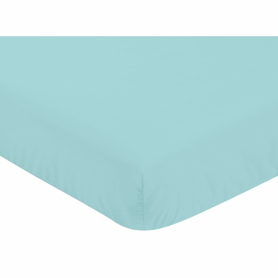 Feather Turquoise and Coral Collection Crib Sheet - Turquoise