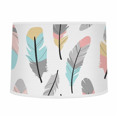 Feather Turquoise and Coral Collection Lamp Shade