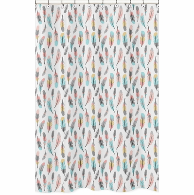 Feather Turquoise and Coral Collection Shower Curtain