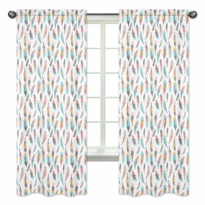 Feather Turquoise and Coral Collection Window Panels - Set of 2