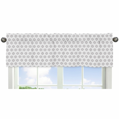 Feather Turquoise and Coral Collection Window Valance - Grey Tribal Geometric Print