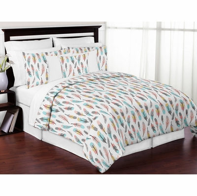 Feather Turquoise and Coral Full/Queen Bedding Collection