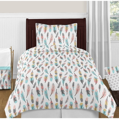 Feather Turquoise and Coral Twin Bedding Collection