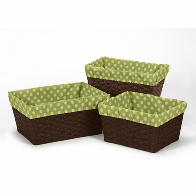 Forest Friends Collection Basket Liner - Tonal Green Dot
