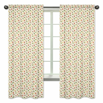 Forest Friends Collection Leaf Print Window Panels - Set of 2