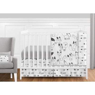 Fox Black and White 11 Piece Bumperless Crib Bedding Collection