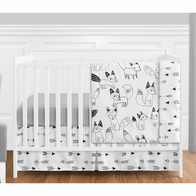 Fox Black and White 4 Piece Bumperless Crib Bedding Collection