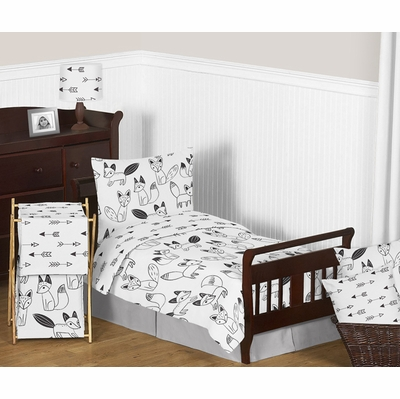 Fox Black And White Toddler Bedding Collection