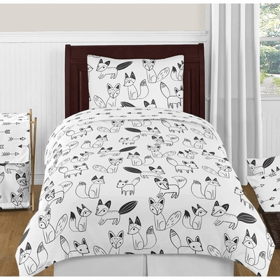 Fox Black and White Twin Bedding Collection