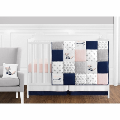 Fox Patch Pink and Navy 11 Piece Bumperless Crib Bedding Collection