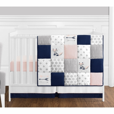 Fox Patch Pink and Navy 4 Piece Bumperless Crib Bedding Collection