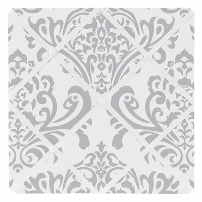 Gray and White Damask Fabric Memo Board