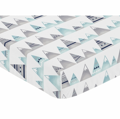 Mountains Grey and Aqua Collection Crib Sheet - Mountain Print