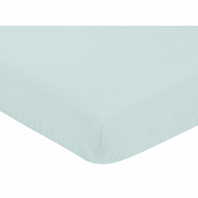 Mountains Grey and Aqua Collection Crib Sheet - Solid Aqua