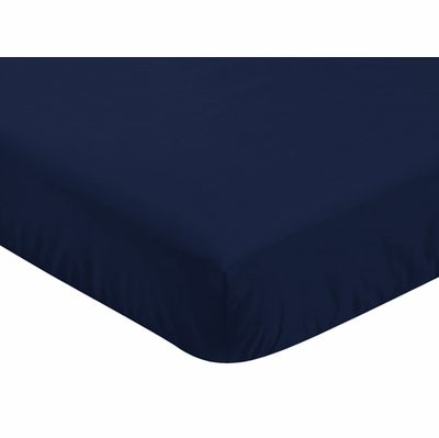 Mountains Grey and Aqua Collection Crib Sheet - Solid Navy Blue