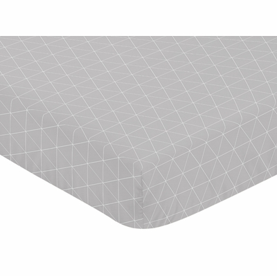 Mountains Grey and Aqua Collection Crib Sheet - Triangle Print