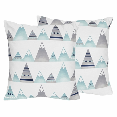 Mountains Grey and Aqua Collection Decorative Accent Throw Pillows - Set of 2