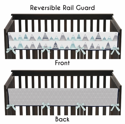Mountains Grey and Aqua Collection Long Rail Guard Cover