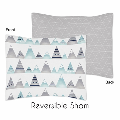 Mountains Grey and Aqua Collection Pillow Sham