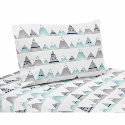 Mountains Grey and Aqua Collection Queen Sheet Set