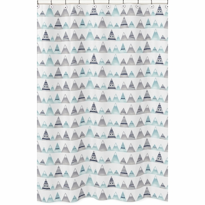 Mountains Grey and Aqua Collection Shower Curtain