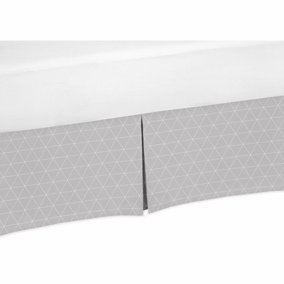 Mountains Grey and Aqua Collection Triangle Print Crib Bed Skirt