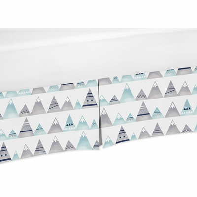 Mountains Grey and Aqua Collection Crib Bed Skirt