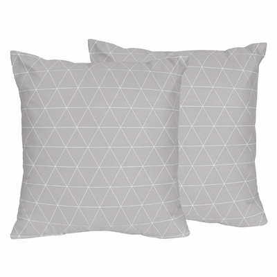 Mountains Grey and Aqua Collection Triangle Decorative Accent Throw Pillows - Set of 2