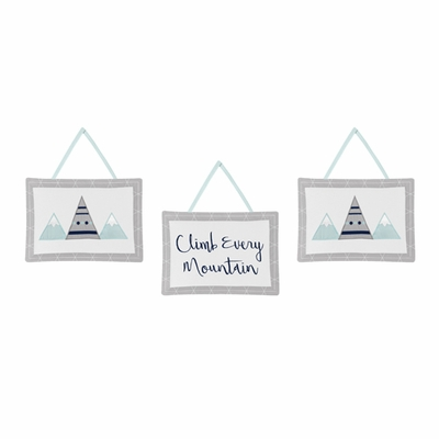 Mountains Grey and Aqua Collection Wall Hangings