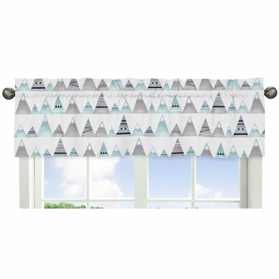 Mountains Grey and Aqua Collection Window Valance