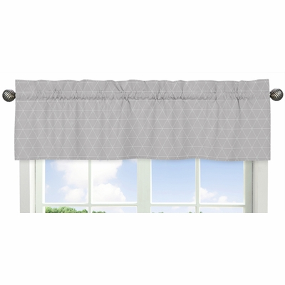 Mountains Grey and Aqua Collection Triangle Print Window Valance