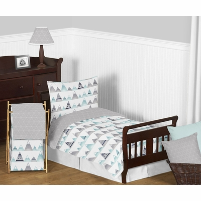 Mountains Grey and Aqua Toddler Bedding Collection