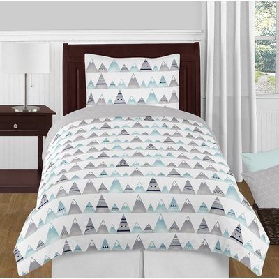 Mountains Grey and Aqua Twin Bedding Collection