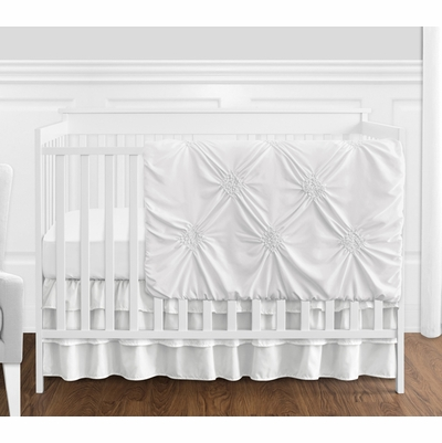 Harper White Collection 4 Piece Crib Bedding