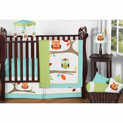Hooty Turquoise and Lime 11 Piece Bumperless Crib Bedding Collection