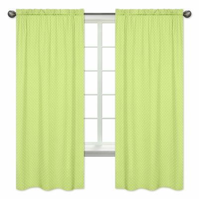 Hooty Turquoise and Lime Collection Polka Dot Print Window Panels - Set of 2