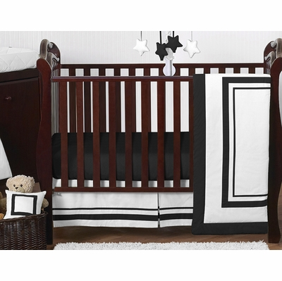 Hotel White and Black 11 Piece Bumperless Crib Bedding Collection