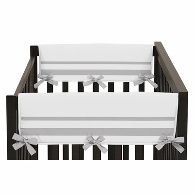 Hotel White and Gray Collection Side Rail Guard Covers - Set of 2