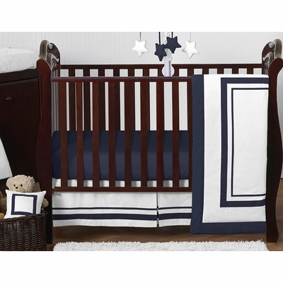 Hotel White and Navy 11 Piece Bumperless Crib Bedding Collection