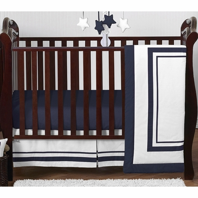 Hotel White and Navy 4 Piece Bumperless Crib Bedding Collection