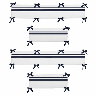 Hotel White and Navy Collection Crib Bumper Pad