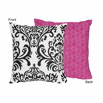 Isabella Damask and Pink Minky Chenille Decorative Accent Throw Pillow