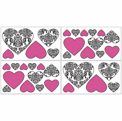 Isabella Hot Pink, Black and White Collection Peel and Stick Wall Decal Stickers - Set of 4 Sheets