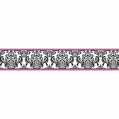 Isabella Hot Pink Black And White Collection Wallpaper Border