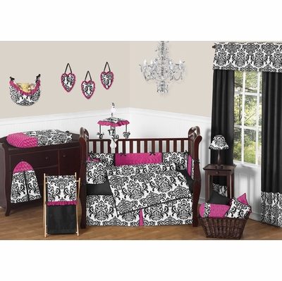 Isabella Hot Pink, Black and White Crib Bedding Collection
